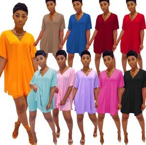 Женщины Two Piece Set Tracksuit рукава Спортивные тонкая рубашка Пант Повседневных Спортивные костюмы Solid Color V-образный вырез Bat рукав Split Top шорты Ty6178