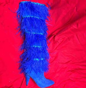 Sexy Tassel Frauen über das Knie Stiefel Mode Spitzschuh Weibliche Super Long Booties Partei Diskothek Tanz-Absatz-Schuhe