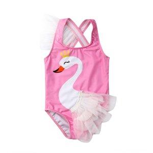 оборудование Emmababy малышей Дети Baby Girl мультфильм Купальники Swan Тюль прекрасный купальник бикини пляж Водные виды спорта Набор купальный костюм бикини