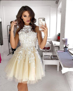 Real Image Halter Neck Sleeveless Homecoming Dresses Lace Applique A Line Tulle Short Prom Gowns Cheap Cocktail Party Dress
