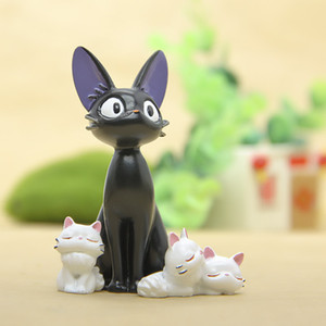 4 pçs / lote Diy Estúdio Ghibli Miyazaki Kiki Serviço de Entrega Kiki Gato Boneca Micro Paisagem Anime Figuras Dos Desenhos Animados Fada Jardim M Q190521