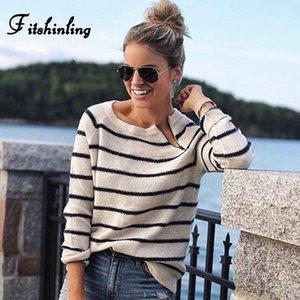 Fitshinling Casual stripes lady's sweater knitwear zipper black white slim jumper long sleeve basic sweaters for women pullovers