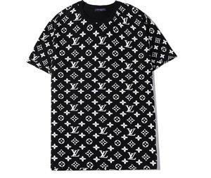 мужчины женщины футболка летняя мода Louis Vuitton футболка o-образным вырезом с коротким рукавом тройники