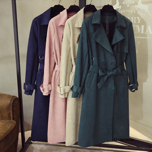 Fashion New Faux Suede Trench Coat Women 2020 Autumn Plus Size Double Breasted Loose High Quality Mid-long Outwear Female Z407
