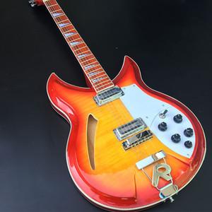 Kaliteli 381 elektro gitar, 12 telli elektro gitar, kırmızı boya yarı boş gitar, ön ve arka tambur yüzlü kaplan, ücretsiz teslimat