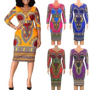2020 neue europäische und amerikanische Frauen afrikanische Volksbräuche Sleeve V-Ausschnitt Kleid engen Rock und langer Abschnitte