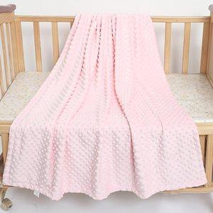 110cm * 140cm bébé couverture emmaillotage couette couverture en laine polaire doux Minky thermique nouveau-né coton solide ensemble de literie dot peluche réception