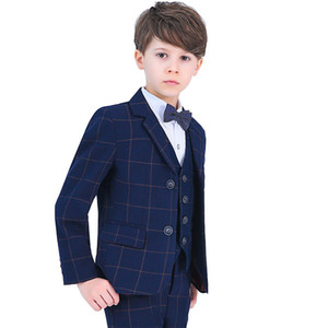 Fashion Flower Boys Formal Boy Suit Kids Wedding Birthday Party Dress Blazer Vest Pants 4 5pcs Child Prom Performance Costume