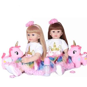 New 60 centímetros de silicone suave Renascer Boneca Toy para a menina Dois Cor do cabelo princesa Criança Babies Lifelike presentes Kid aniversário