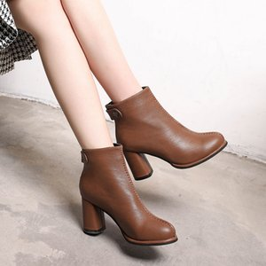 new high-heeled ankle boots female thick with ankle boots leather wild casual round head bare