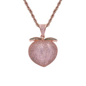 Fruit rose pendentif pêche chaîne corde collier Hiphop bijoux hommes glacé pendentif pêche rose pour boîte de nuit