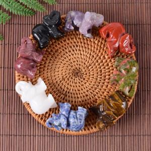 Natürliche geschnitzt Kristall Jade-Elefant Stein, Feng Shui Figurine Home Office Decor