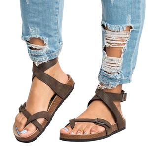 Artı boyutu 35-45 Yaz Kadın Düz Rahat Sandalet Gladyatör Retro Yapay PU Roman Ayakkabı Kadınlar Flats yaz Sandal