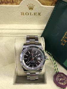 원래 상자 새로운 핫 높은 품질로 42mm 스카이 거주자 블랙 326935 아시아 2813 자동 기계 시계 남성 시계 다이얼 시계