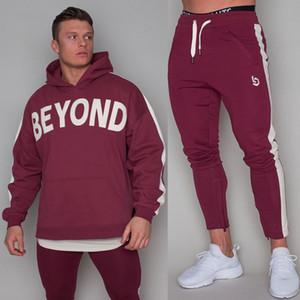 Yeni Spor Seti Erkek Koşu Spor Kazak Sweatpants Gym Fitness Hoodie Pantolon Suit Erkek Koşu Egzersiz Pamuk Eşofman