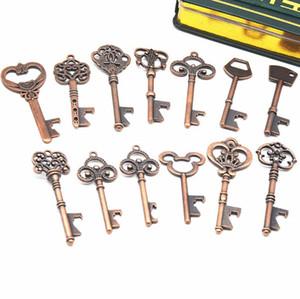 Aleación de zinc clave abridor 13 estilos llave en forma Abridores de botellas colgante de bronce clásico de la cerveza 240pcs OOA7029-1