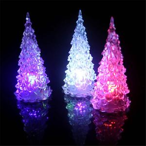 Renkli Akrilik Noel Ağacı Küçük Gece Lambası Ev Dekorasyon Yeni Yıl Partisi Chrismas Parti Çocuk Hediye