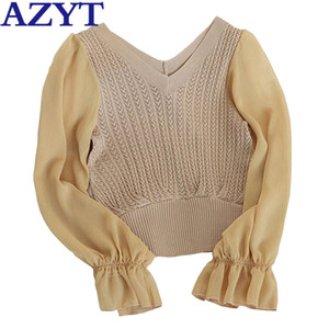 jaqueta AZYT Mulheres' Knit Autumn Sweater Jumpers 2020 Chiffon Patchwork camisola de manga longa de Mulheres V Neck Knitwear Tops Feminino