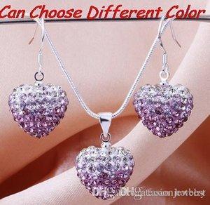 prix le plus bas stock 15mm * 15mm multicolore Perles de Cristal mélanger Gradient Coeur cristal ensemble déposer boucles d'oreilles Collier Pendentif s2525
