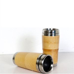 400ml 304 stainless steel inner liner Bamboo Wooden cup Water bottle Car Cup Portable Coffee mugs Car Cup BambooT2I5497