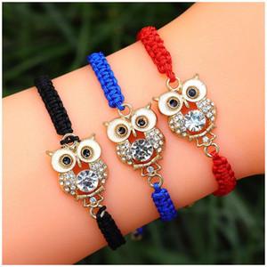 Owl Weave Pulseira Artificial diamante pulseira Sorte