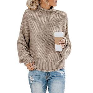 De malha camisola de gola alta para as mulheres outono-inverno 2019 novas roupas da moda de manga longa senhoras de escritório ocasional camisola elegante encabeça T191021