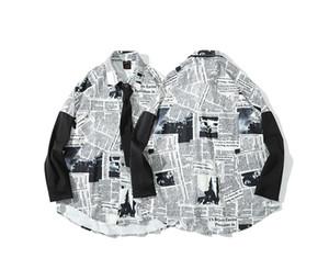 Venta al por mayor 2019 para hombre camisetas de manga larga camisas de vestir de impresión Periódicos ingleses Casual turn-down collar hombres s ropa Camisas Sociales