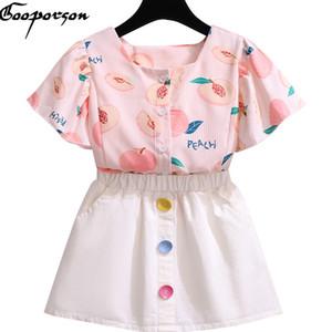 Gooporson la ropa del verano muchachas de la manera de la colmena de miel Trajes melocotón Impreso Blouseskirt Corea del niño lindo de los niños de la ropa del
