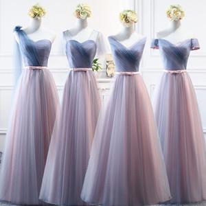 Spitze-Rosa-Spitze Bridemaid Kleider lange formale Hochzeit Ballkleider Robe vestido de noiva Abend