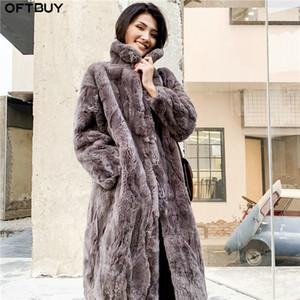 OFTBUY 2019 Gerçek Kürk Kış Ceket Kadınlar Doğal Rex Tavşan Kürk Uzun Palto Standı Yaka Streetwear Kalın Sıcak