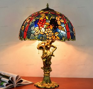 American style grapes Tiffany color glass table lamp for living room bar dining room bedroom bedside table lamp LLFA