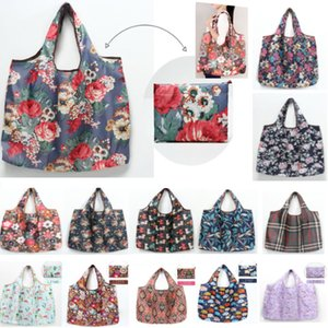 Shopping Grocery Bags Reusable Print Flower Foldable Storage Bag Machine Washable Handbags Tote Bags For Environmental Protection HH7-1993