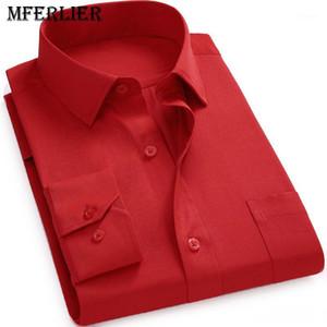 MFERLIER Spring Autumn men shirts large size 5XL 6XL 7XL 8XL 9XL 10XL men long sleeve shirts Plus size 8 colors1