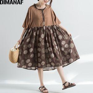 DIMANAF Tallas grandes Vestido de verano Sundress Lino Vintage femenino Vestidos elegantes empalmado plisado flojo vestido de punto 2019