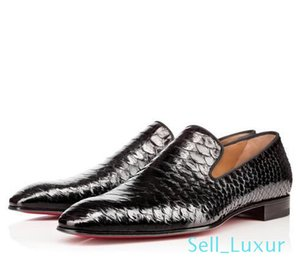 2019 New Brand Red Bottom Loafers Luxury Party Wedding Shoes Designer BLACK PATENT LEATHER Suede Dress Shoes For Mens Slip On Flats