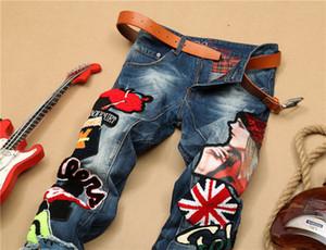 Оригинальный корейский дизайн 2019 новая личность мода стрейч повседневные брюки популярный логотип прямая трубка тонкие джинсы вышитые красоты знак stit