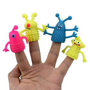 4Pcs Set Novelty TPR Plastic Cute Expression Hand Puppets Children Kids Finger Puppets Toy Parents Storytelling Props Xmas .