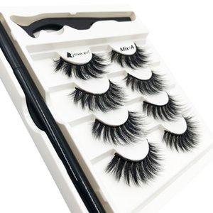 Flash girl brand High-end luxurious 4 pairs 3D mink eyelashes Magic self-adhesive eyeliner eyelashes set with tweezers mix-a