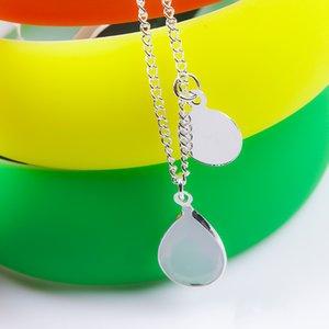 Barato moda jóias por atacado de prata de ouro duplo gemstone rodada pingente de colar de presente do dia dos namorados para meninas frete grátis