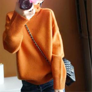 Fashion-Gejas Ainyu Autunno Inverno donne nuove moda maglioni 2018 donne maglione dolcevita di cashmere pullover a maglia più dimensioni