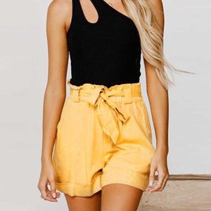 Arbeiten Sie Frauen reine Farbe des Baumwollleinen lose kurze beiläufige hohe Taille Lady Gürteltasche Freizeit Outdoor Heim Shorts Plus Size # p3
