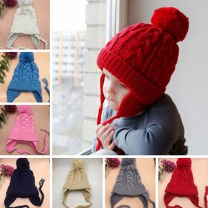 Enfants Twisted Braid Knitting Chapeaux Bébé Hiver Crochet Bonnets Bonnets Enfants Chaud Doux Pompon Cap Fille Chapeau De Fête TTA1795