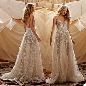 2021 Berta A Line Wedding Dresses Appliqued Lace Beads Sheer Jewel Neck Sweep Train Bohemian Bridal Gowns Custom Made Beach Wedding Dress