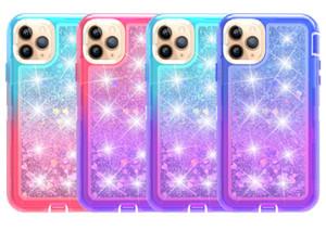 iPhone 11 Pro Max XR Xs Max 6 7 8P Gradient Sıvı Quicksand Glitter Parlak Kılıf 3in1 Ağır Hizmet Darbeye Vaka İçin