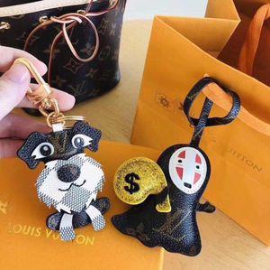 Fashion Unisex Keychain Purse Pendant Schnauzer And Hayao Miyazaki Design Car Chains Key Gifts Women Leather Keychains Jewelry Christmas Set