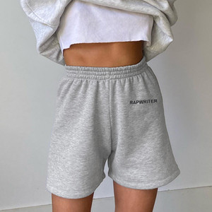 Womens Verão Rapwriter Sweatpants Shorts letra impressa Elastic Drawstring Shorts Pants Street Style Womens Shorts Casual