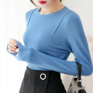 Sueter MUJER Invierno 2018 mujeres del otoño swaeter señoras Jerseys sólido suéter delgado coreano de Harajuku de punto suéter de la mujer 0306