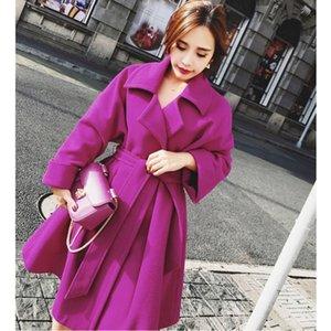 Xuxi caliente con cinturón de lana cachemira chaqueta para mujer abrigos Europea Prendas de moda una línea de estilo de invierno de lana capa de las mujeres FZ228
