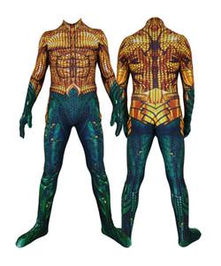 성인 남성 키즈 보이 아쿠아 맨 코스프레 점프 슈트 할로윈 애니메이션 무비 세페로 코스튬 Zentai Jumpsuit Bodysuit Suit
