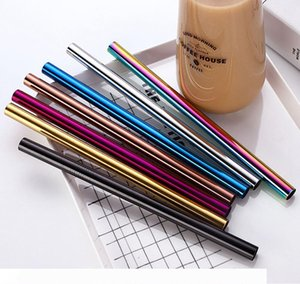 215*12mm Stainless Steel Straw 7 Colors Metal Colorful Drinking Reusable Straight Bent Large Straws For Juice Coffee Mug Straws OOA8029